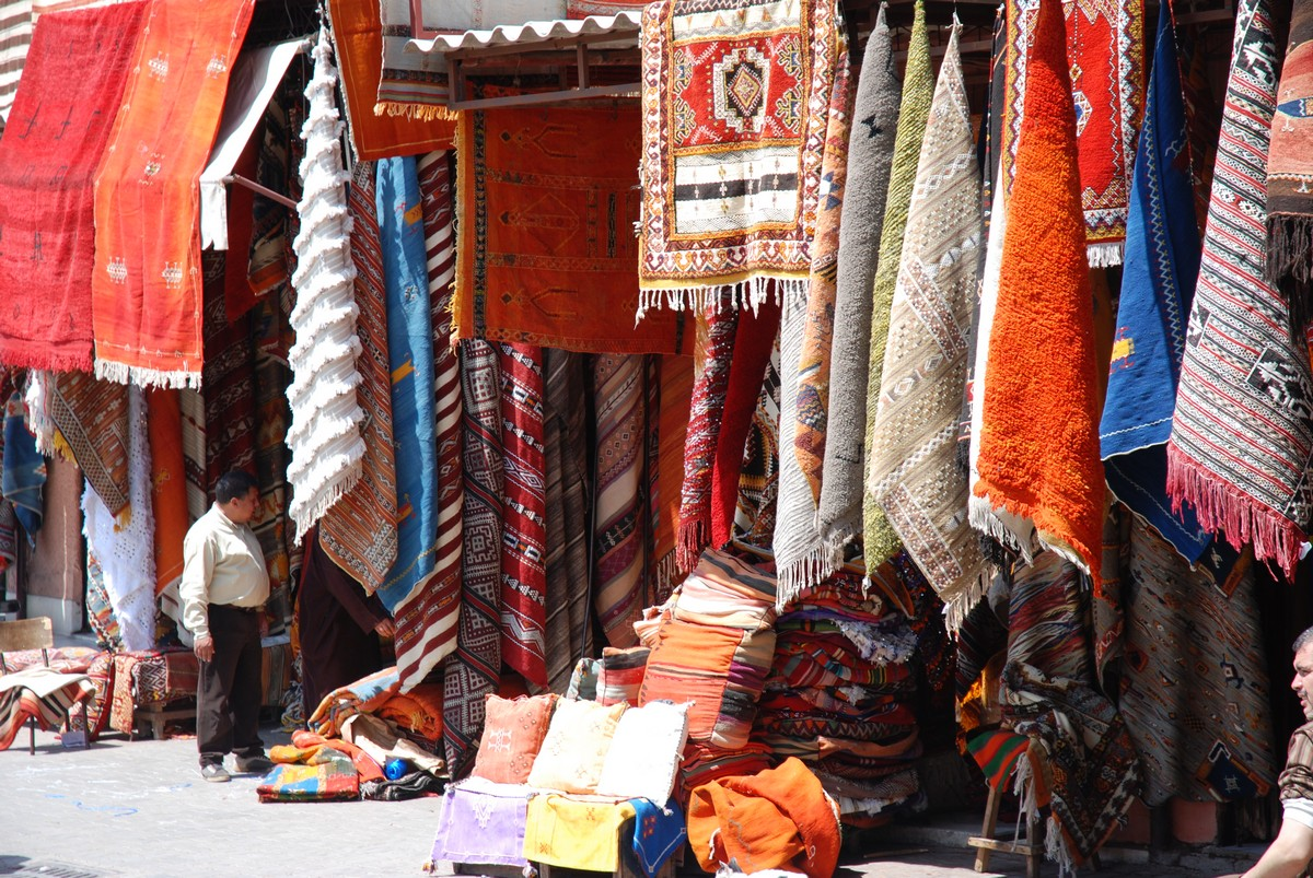 Colorful market in Marrakech on guided trekking tour to Atlas Valley