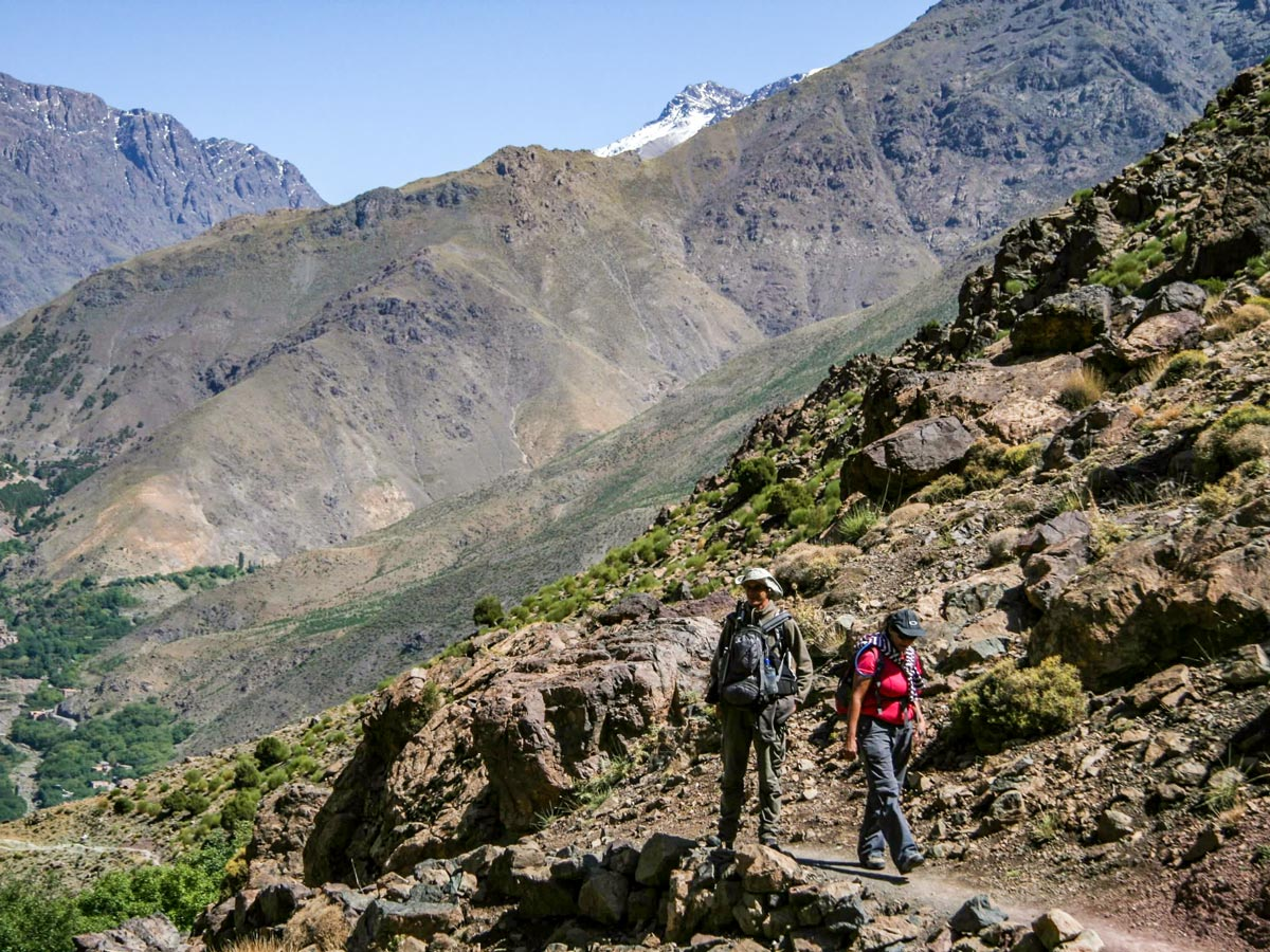 Hiking in the valley on Mt Toubkal Circuit Trek in Morocco