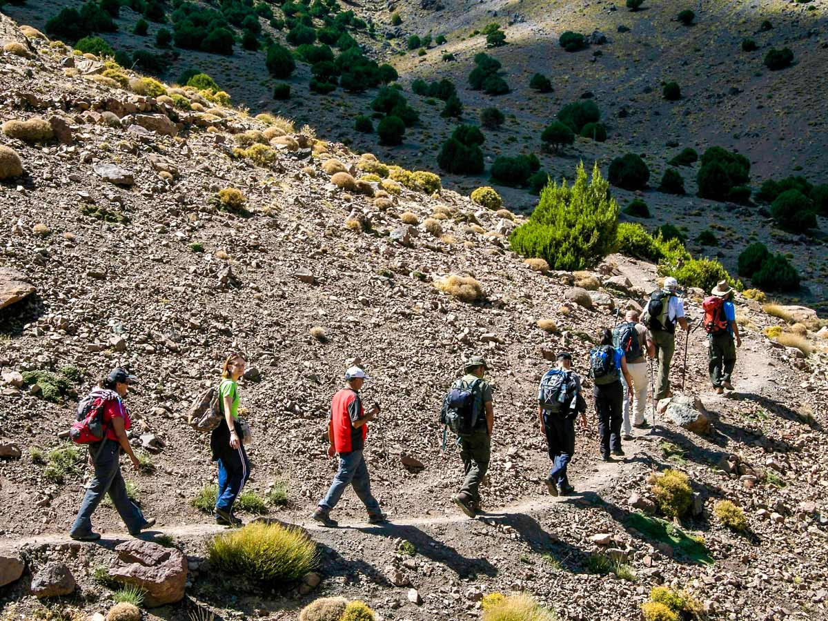 Trail on a way to Mt Toubkal Circuit Trek in Morocco from Marrakech