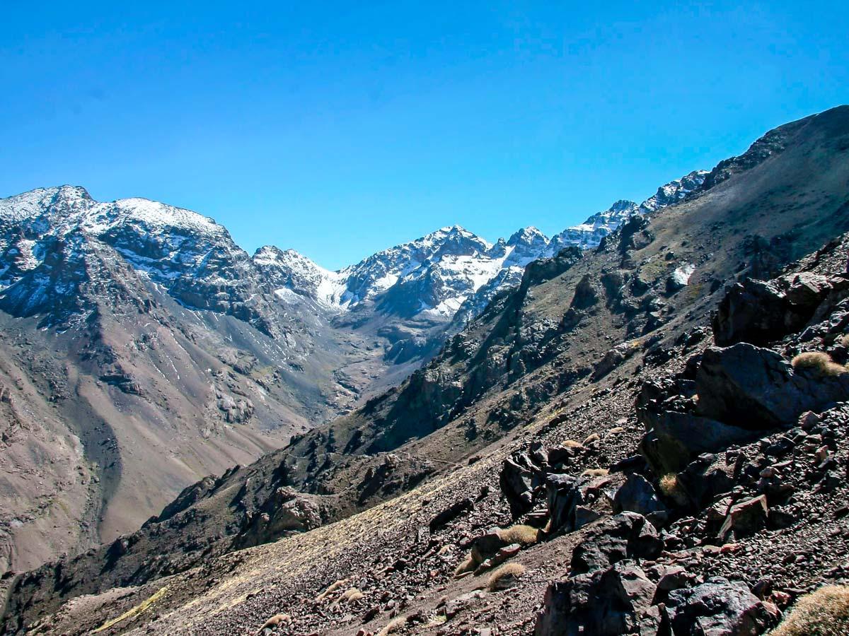 Rocky path of Mt Toubkal Circuit Trek in Morocco