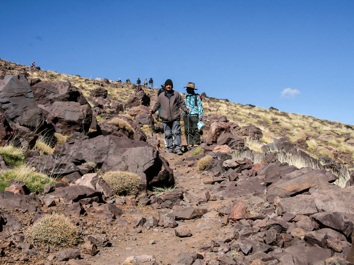 Descending after the traverse on Mt Toubkal Circuit Trek in Morocco