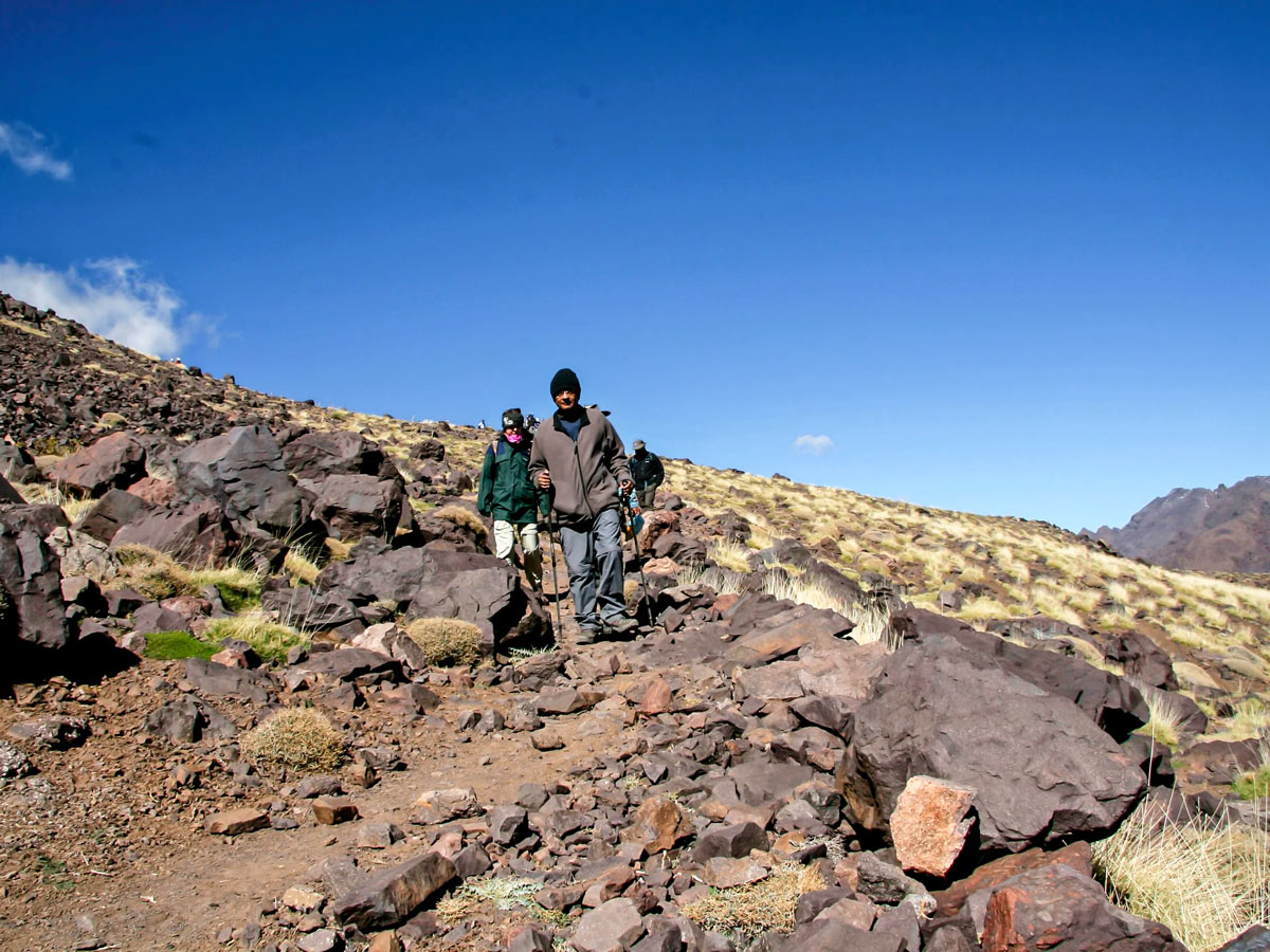 Hikers happy after traversing on Mt Toubkal Circuit Trek in Morocco
