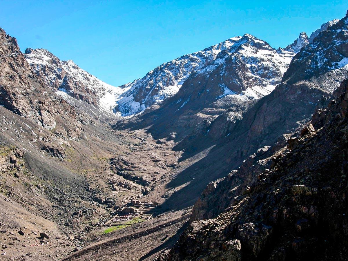 Beautiful valley on Mt Toubkal Circuit Trek in Morocco