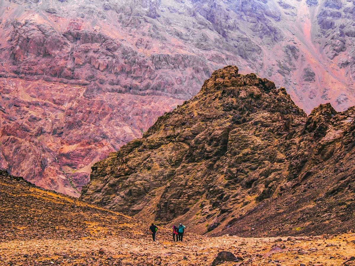Mt Toubkal Circuit Trek in Morocco rewards with beautiful views of surrounding Atlas mountains