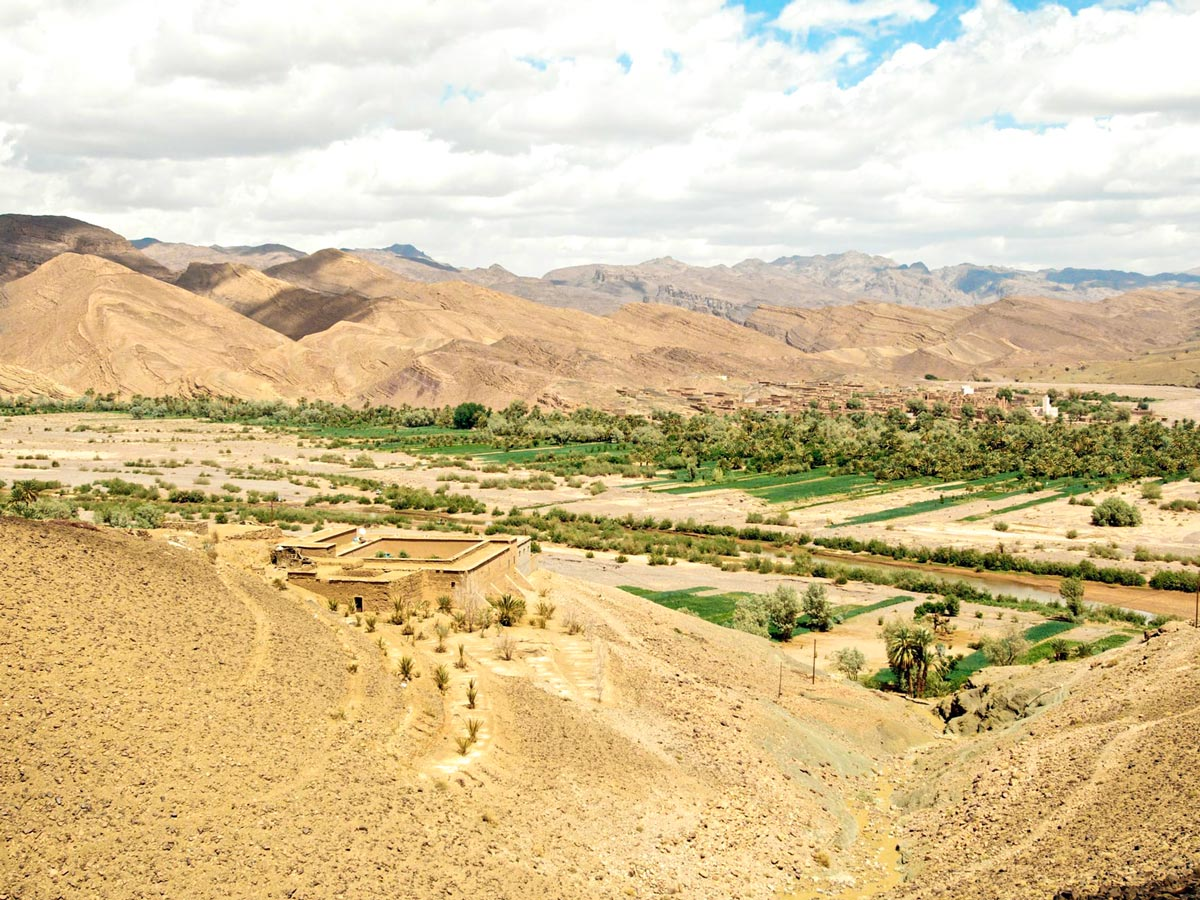 Beautiful sandy valleys on a trail of Merzouga Overland Tour in Morocco from Marrakech