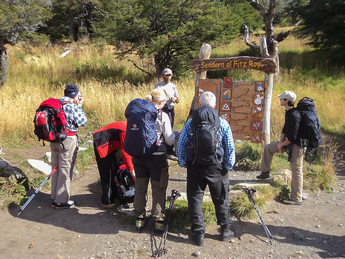 Trailhead on second day of Fitz Roy Glacier Perito Moreno Trek in Argentinean Patagonia