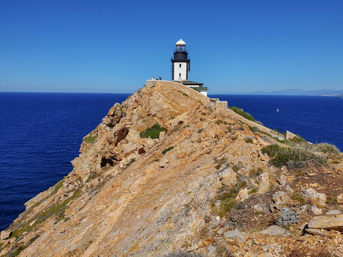 La Revellata lighthouse along the trail of Corte and Calvi trek in Corsica