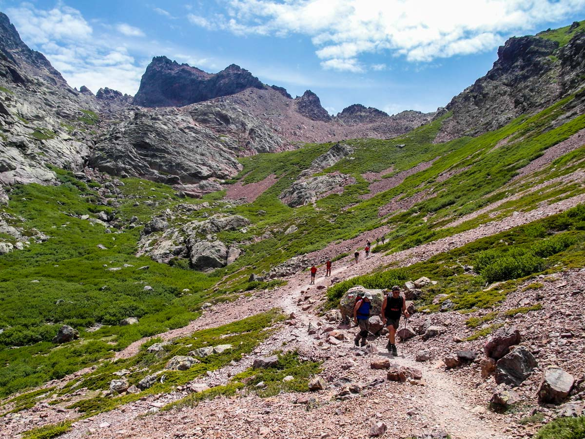 The path Between Ascu and Vallone on a GR20 trek in Corsica rewards with amazing views