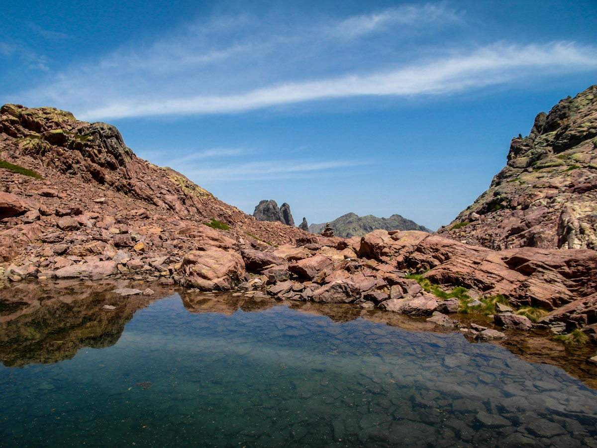 Beautiful tarn between Ascu and Vallone on a GR20 trek in Corsica