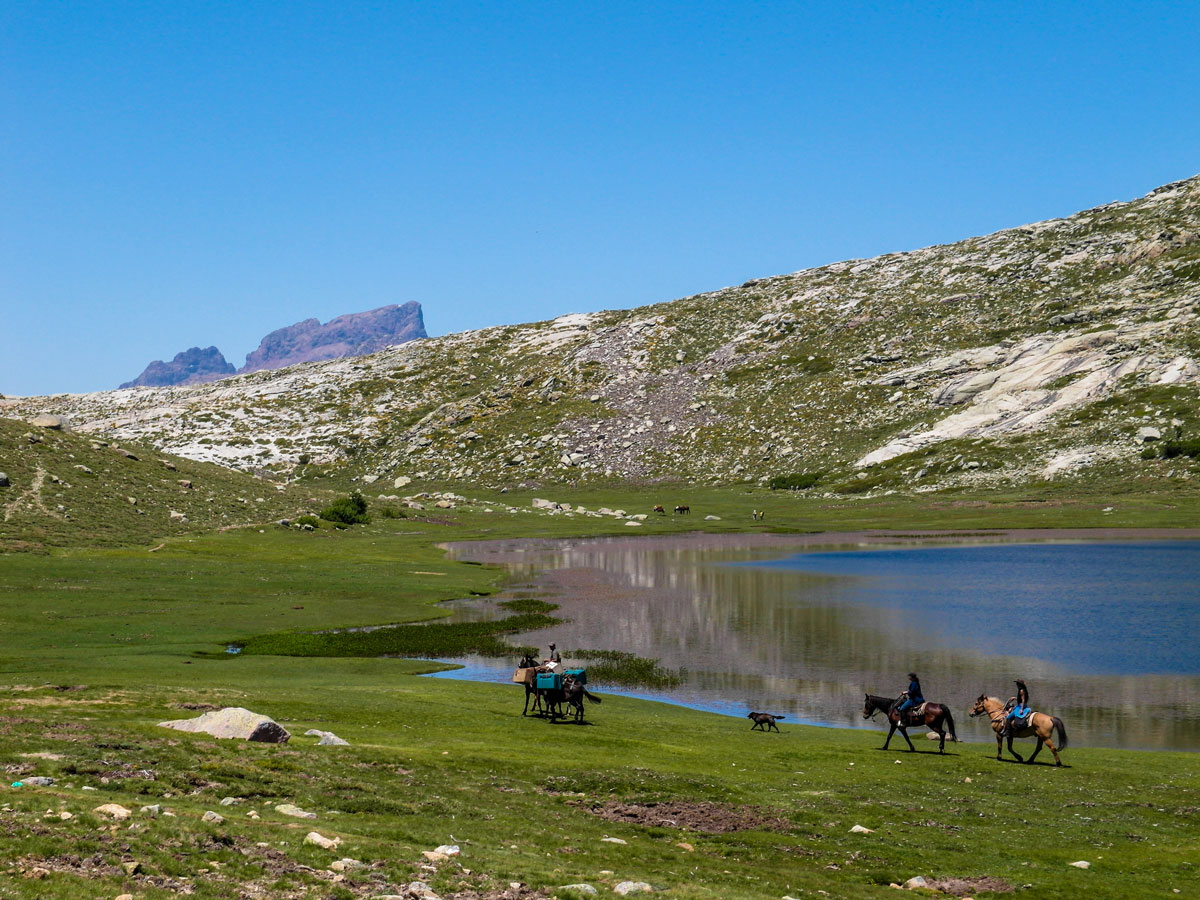 On a day 6 of GR20 trek in Corsica between Verghio and Refuge A Sega theres a beautfiful small lake