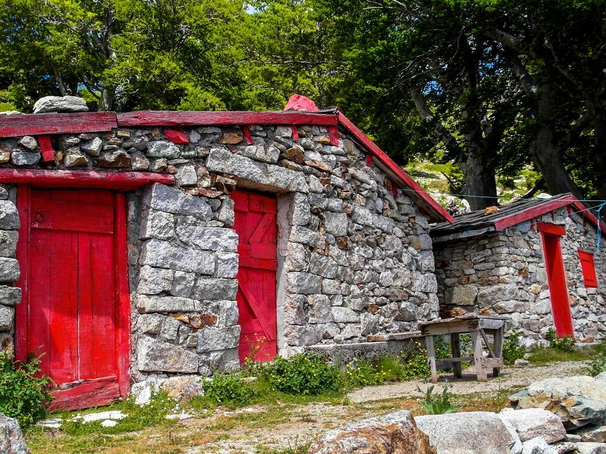 Old farmhouses along the trail of GR20 Trek in Corsica France