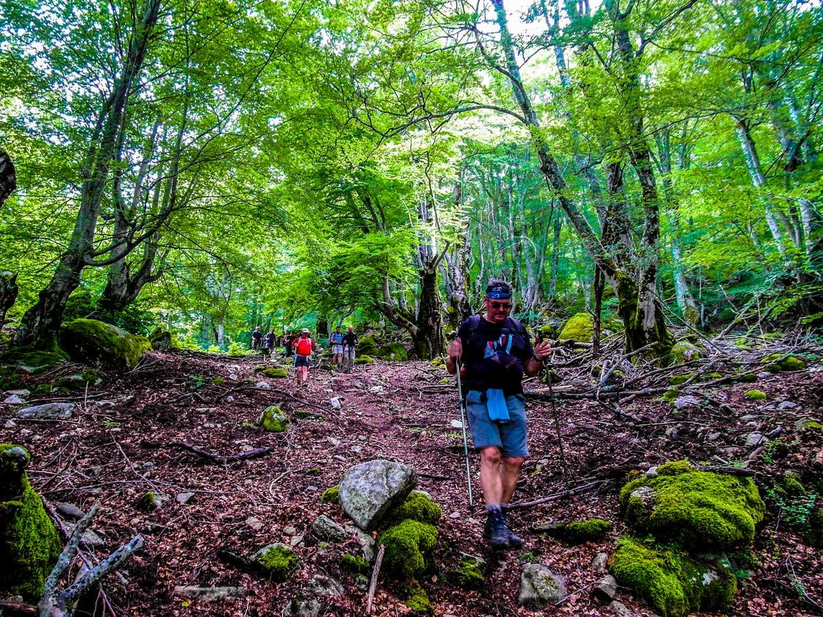 Descending from Bocca di l Usciolu between Cozzano and Bassetta on GR20 Trek in Corsica Island