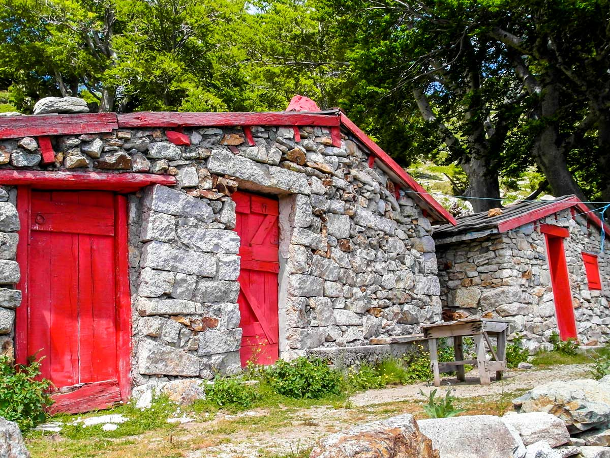 Old farmhouses along the trail of GR20 South Trek in Corsica France