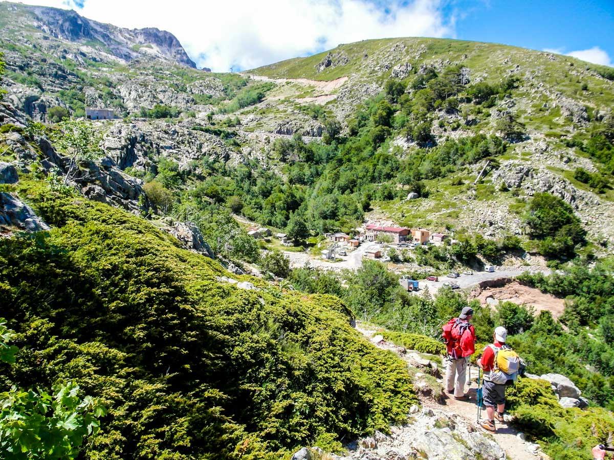 Approaching gite on GR20 South Trek in Corsica