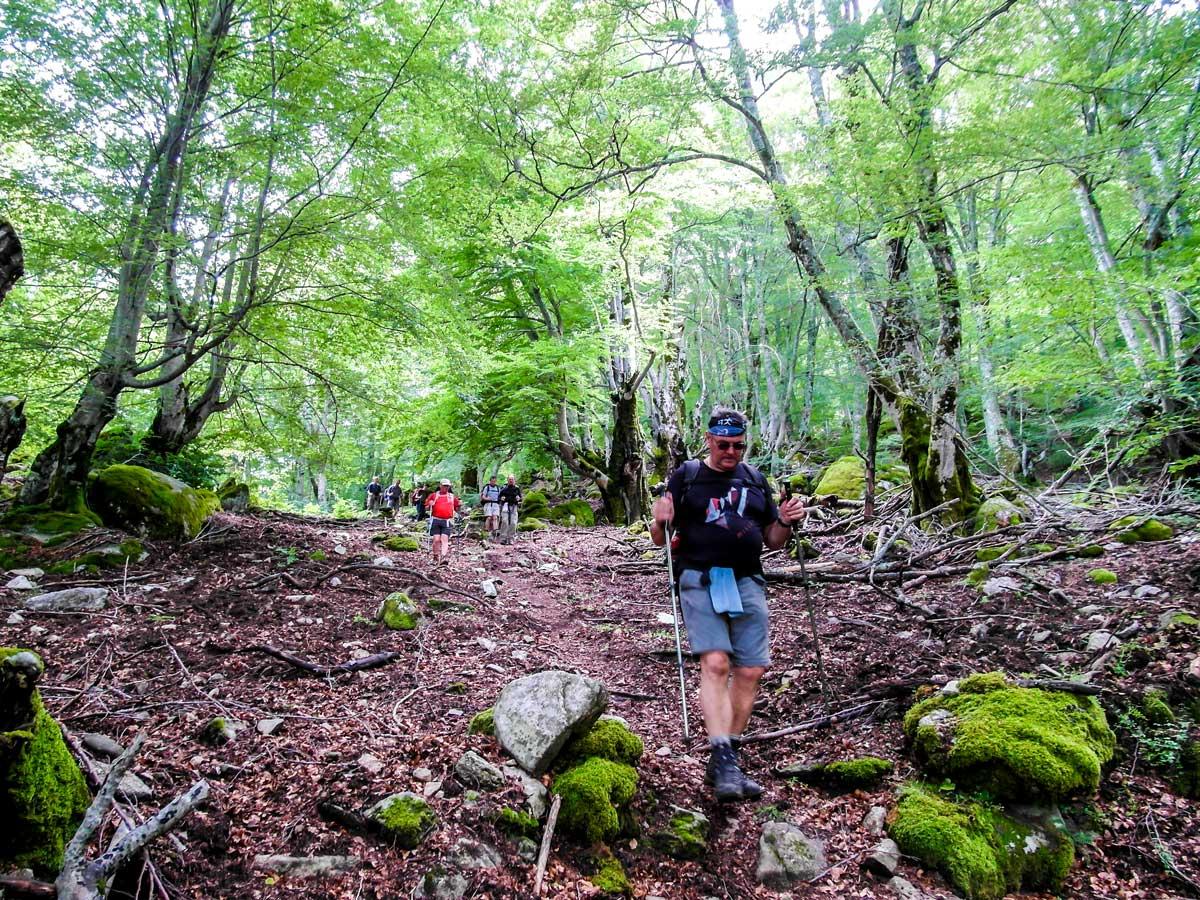 Descending from Bocca di l Usciolu between Cozzano and Bassetta on GR20 South Trek in Corsica Island