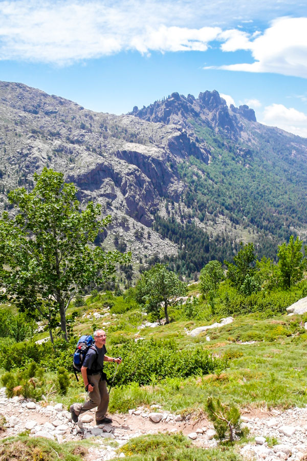 GR20 South Trek in Corsica has beautiful views of Needles de Bavella Aguilles de Bavella on 6th day of the tour