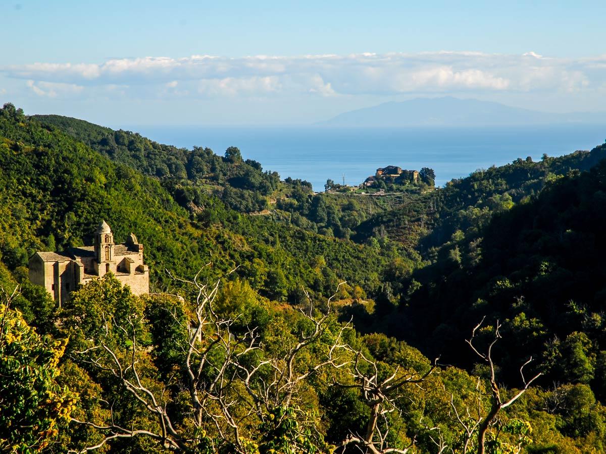 Beautiful views of Castagniccia on Moriani to Corthe