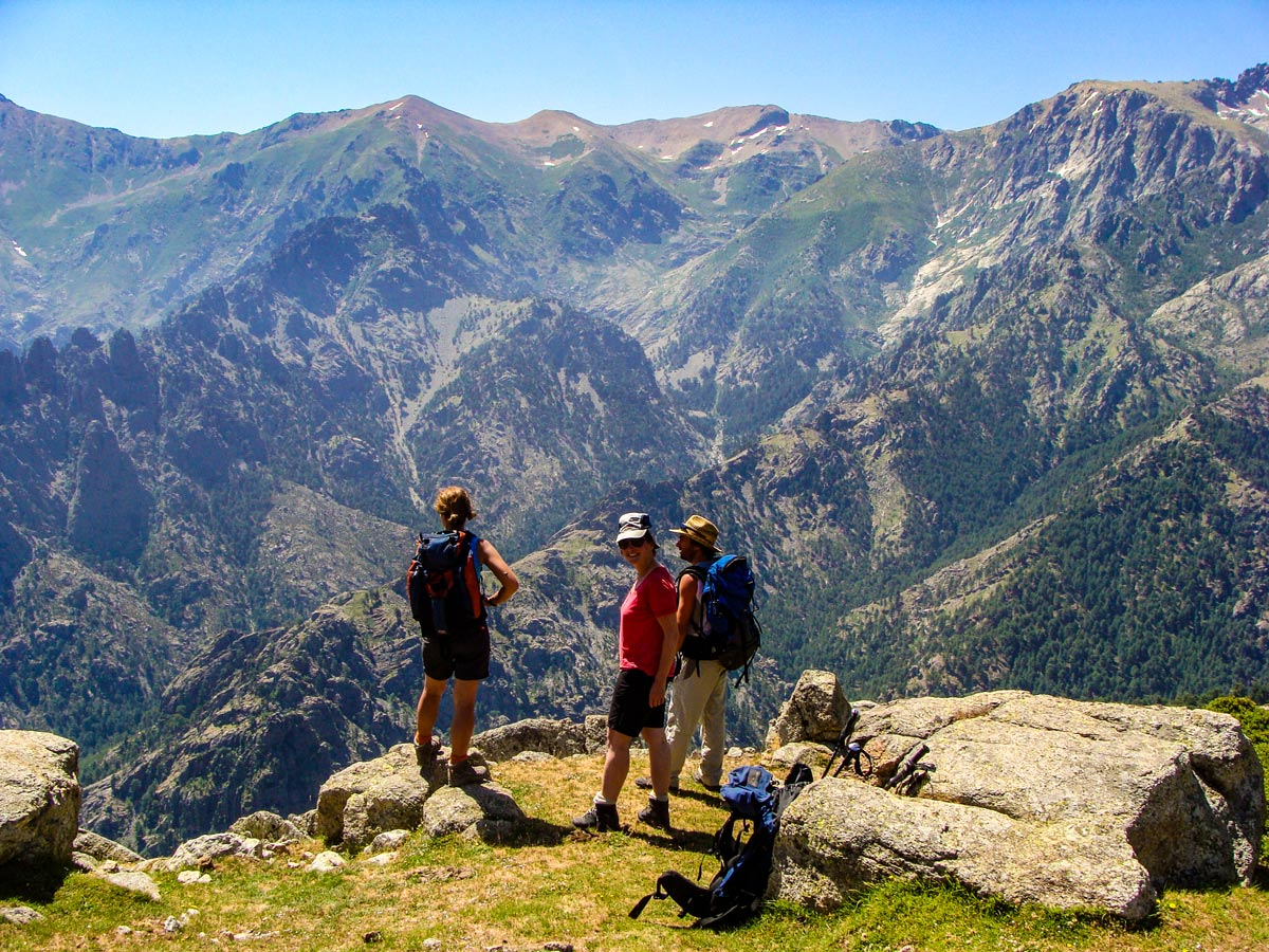 Hikers enjoying the views of Mare a Mare North trek in Corsica