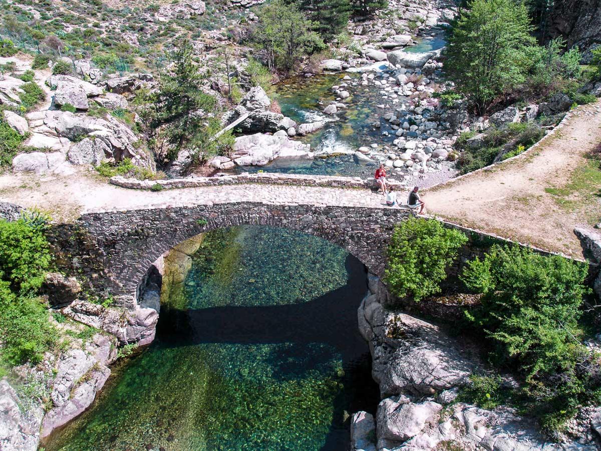 Beautiful bridge in Scala on Scala to Piana trek in Corsica