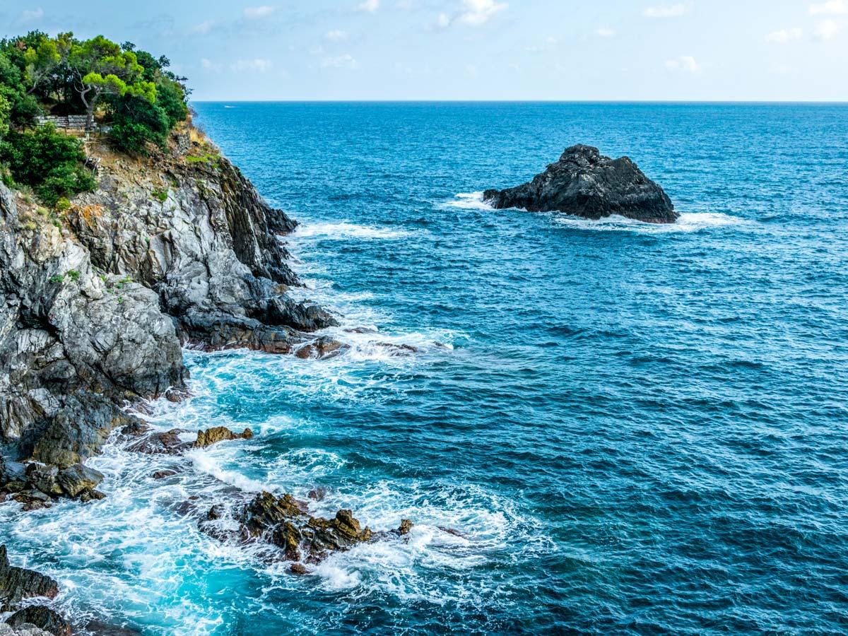 Beautiful views of the Mediterranean Sea on self guided trek between Portofino and Porto Venere in Cinque Terre