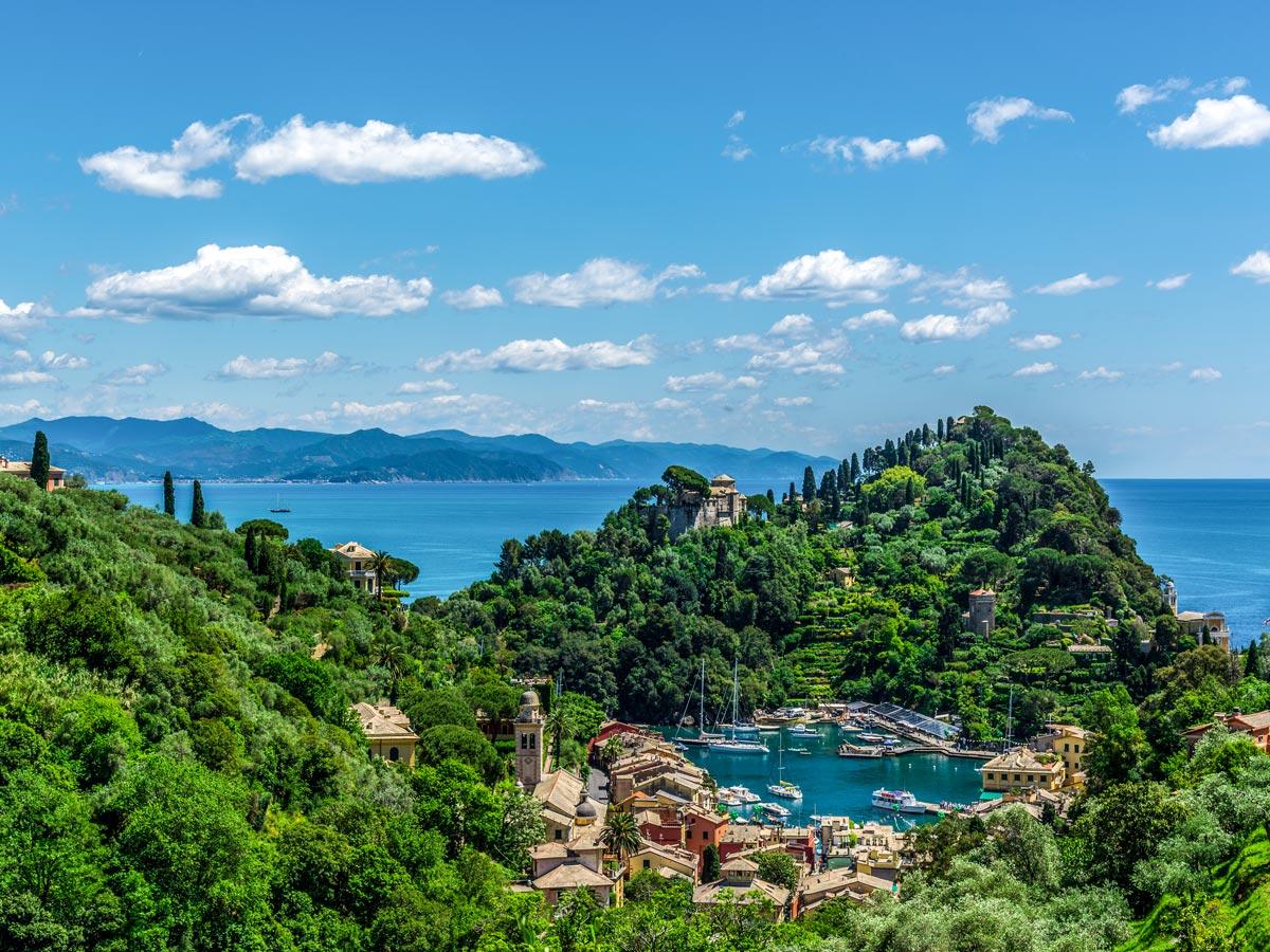 Beautiful views along the trail on self guided trek between Portofino and Porto Venere in Cinque Terre