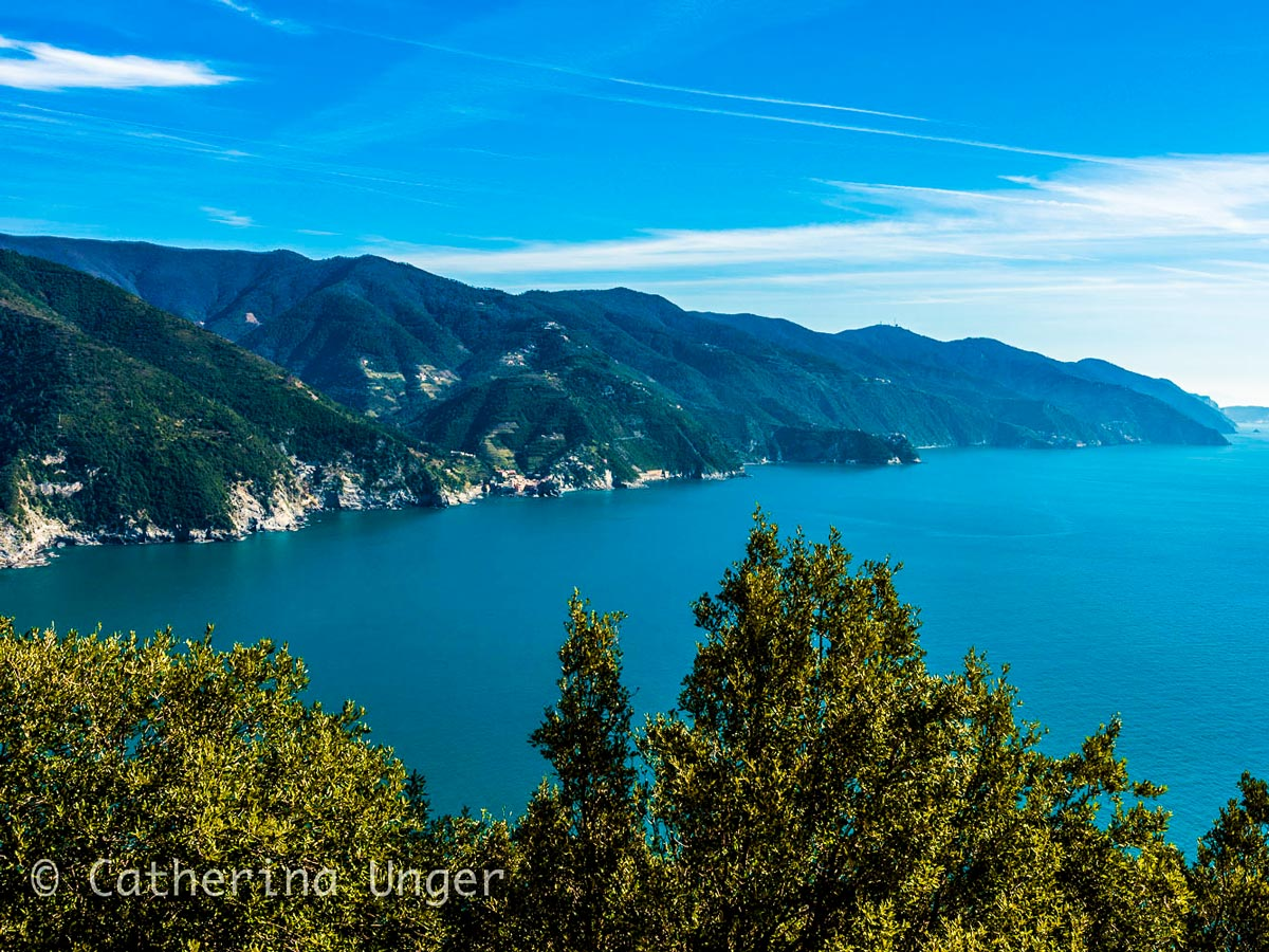 Beautiful bay on Sestri Levante to Porto Venere trek in Cinque Terre Italy
