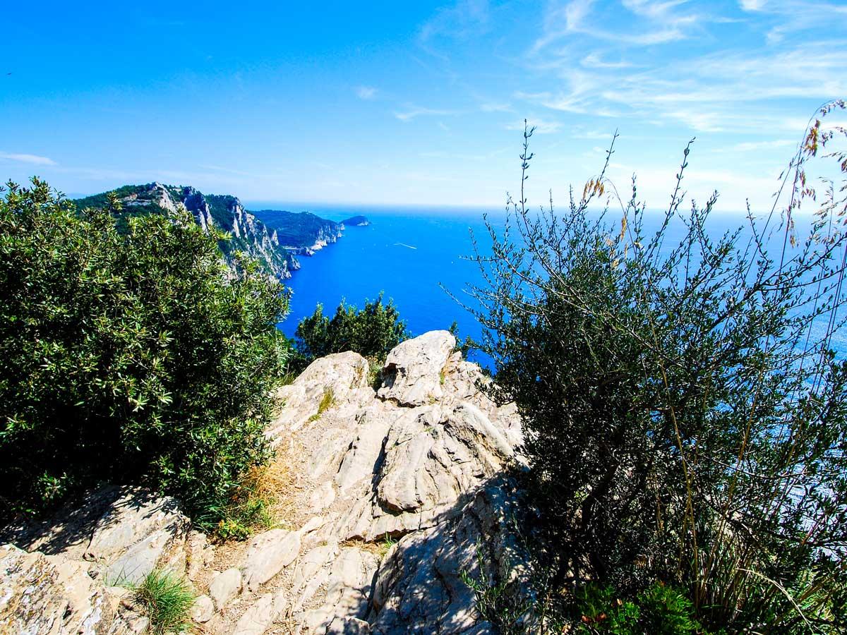 Beautiful viewpoint on Sestri Levante to Porto Venere trek in Cinque Terre