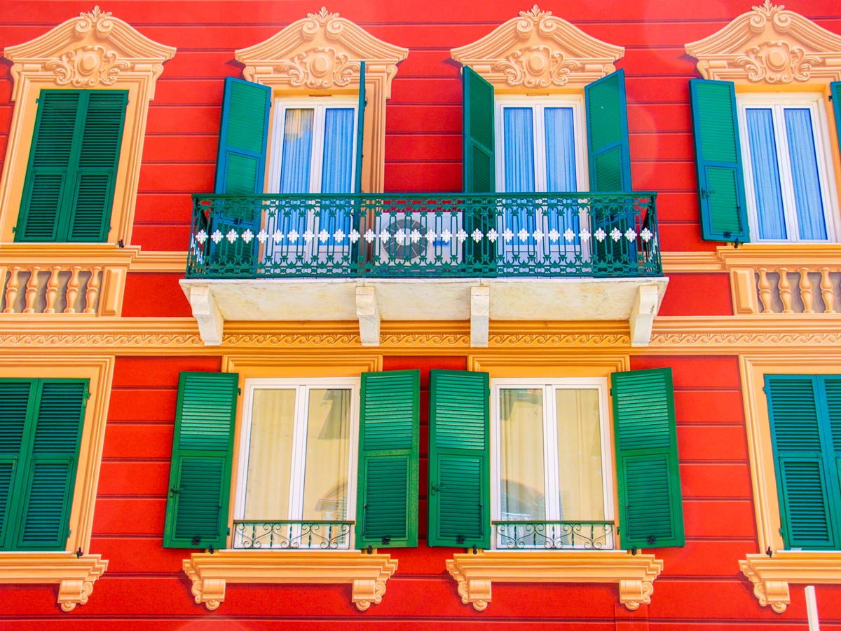 Colourful Italian house seen in Sestri Levante on self guided trek