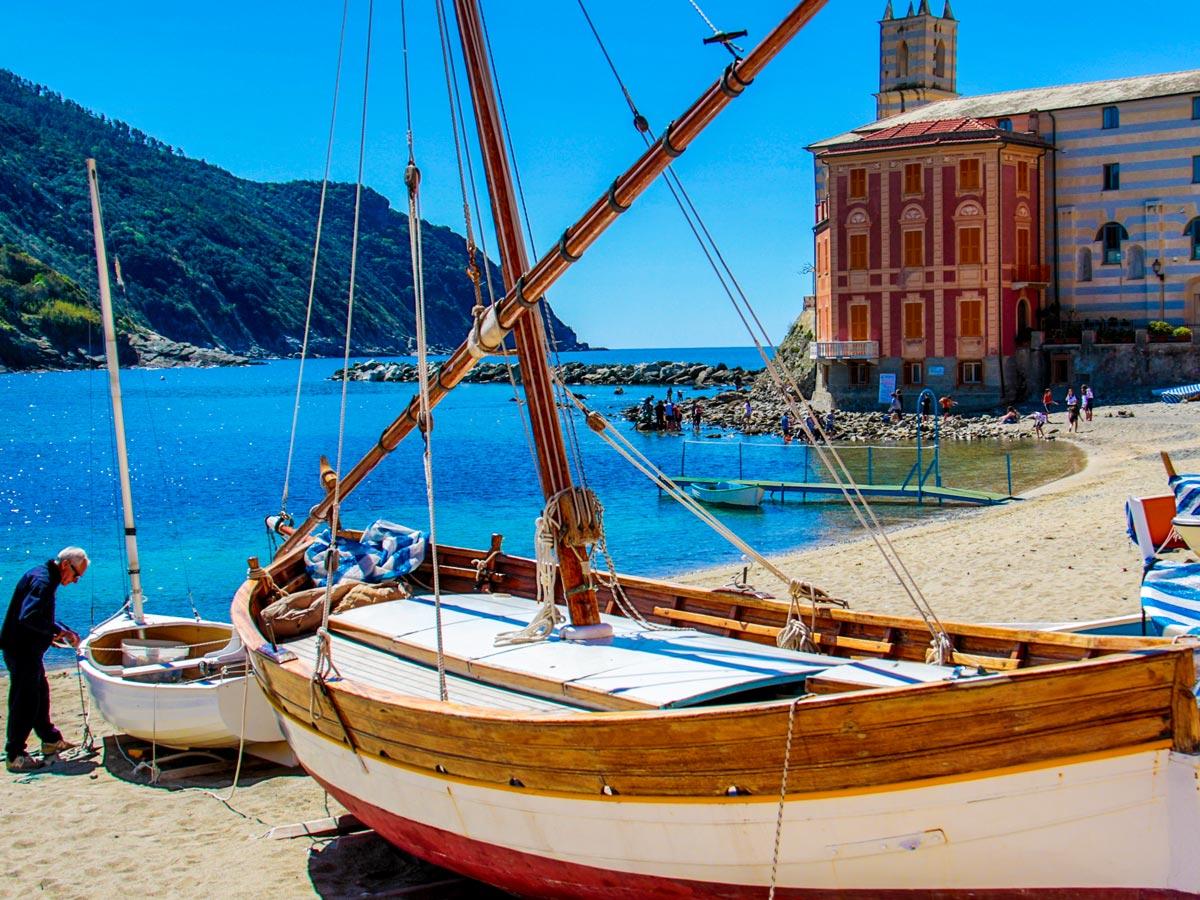 Quiet harbour of Sestri Levante on Cinque Terre trek