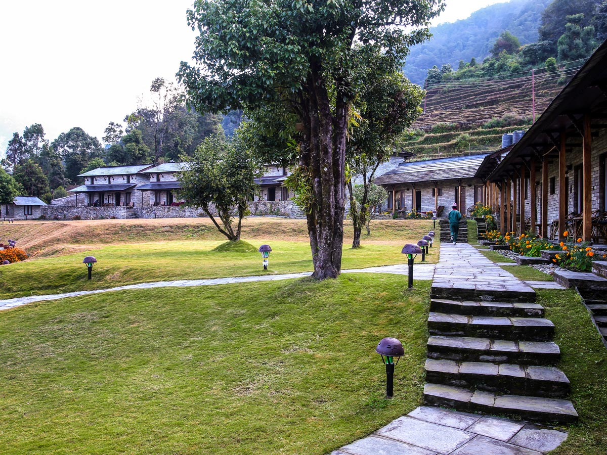 Beautiful yard of Mala Lodge on Annapurna Luxury Lodges Trek in Nepal