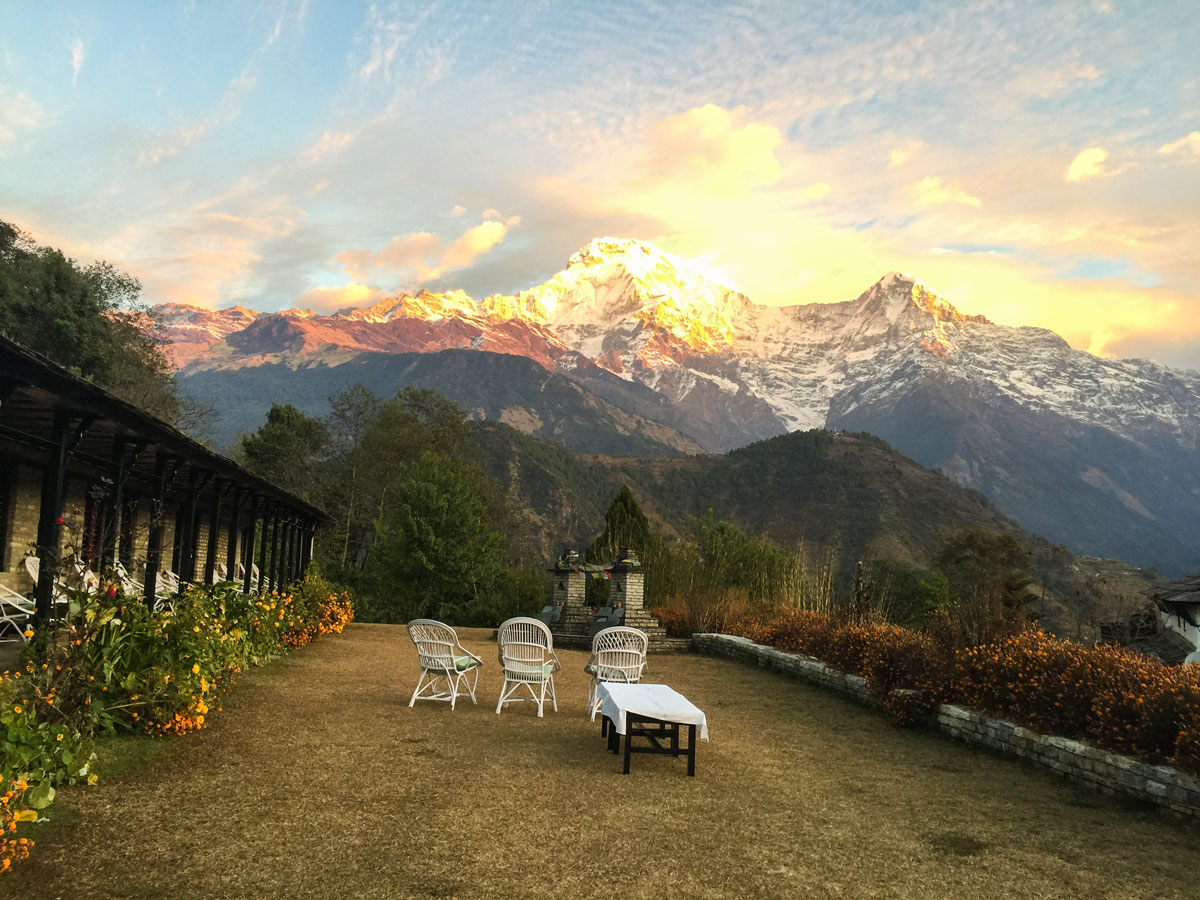 Stunning mountian view from Himalaya Lodge Ghandruk on Annapurna Luxury Lodges Trek in Nepal