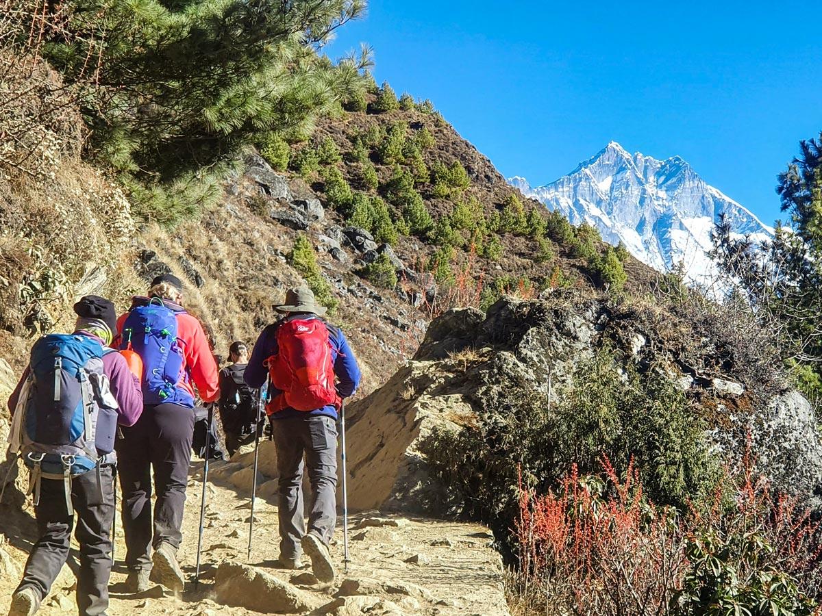 Group of hikers on Everest Luxury Lodge Trek in Nepal
