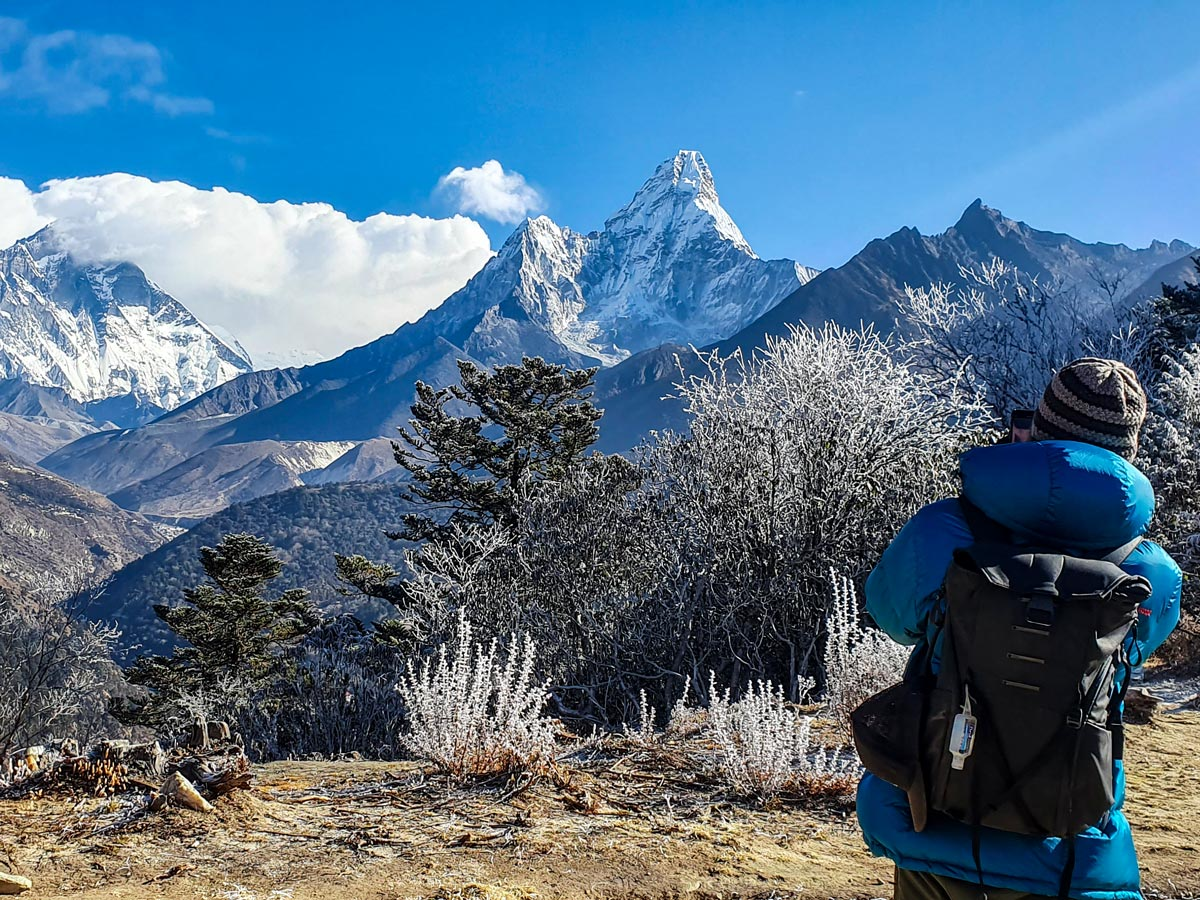 Taking pictures of Everest on Everest Luxury Lodge Trek in Nepal