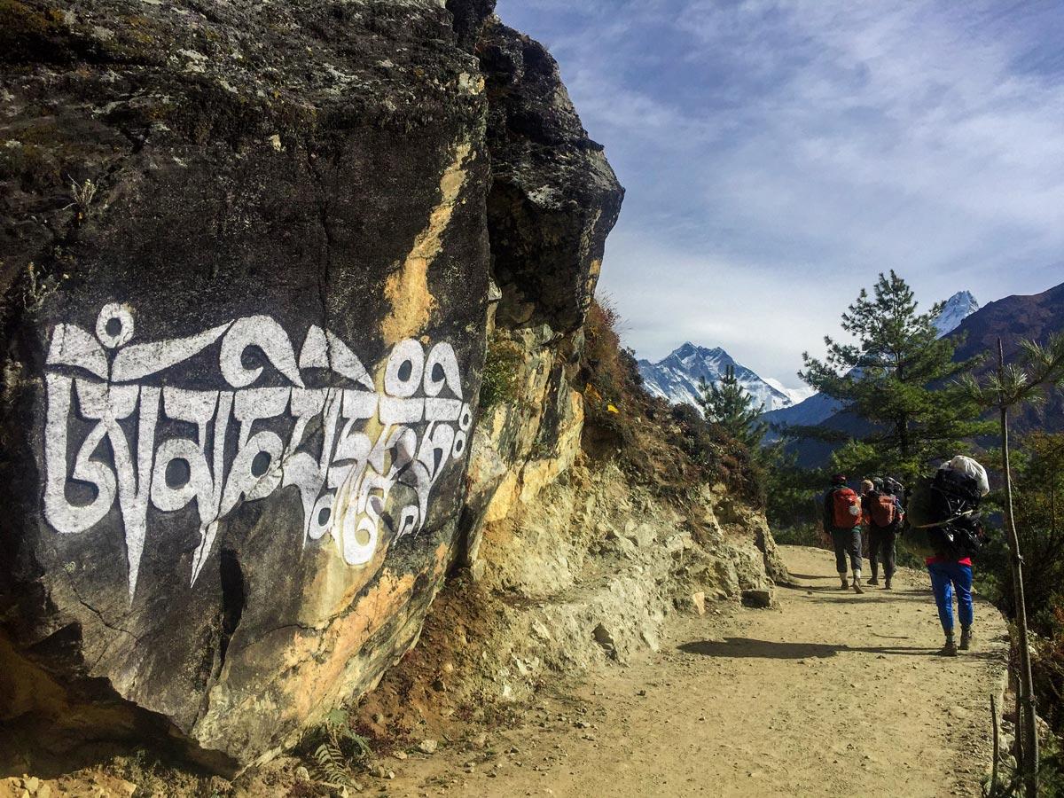 Writings on stone on Everest Luxury Lodge Trek in Nepal