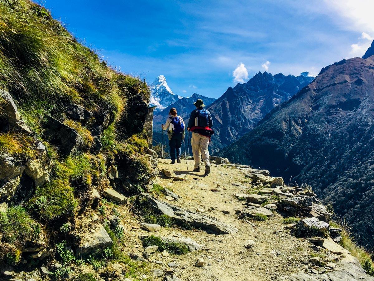 Hikers on beautiful trail of Everest Luxury Lodge Trek in Nepal