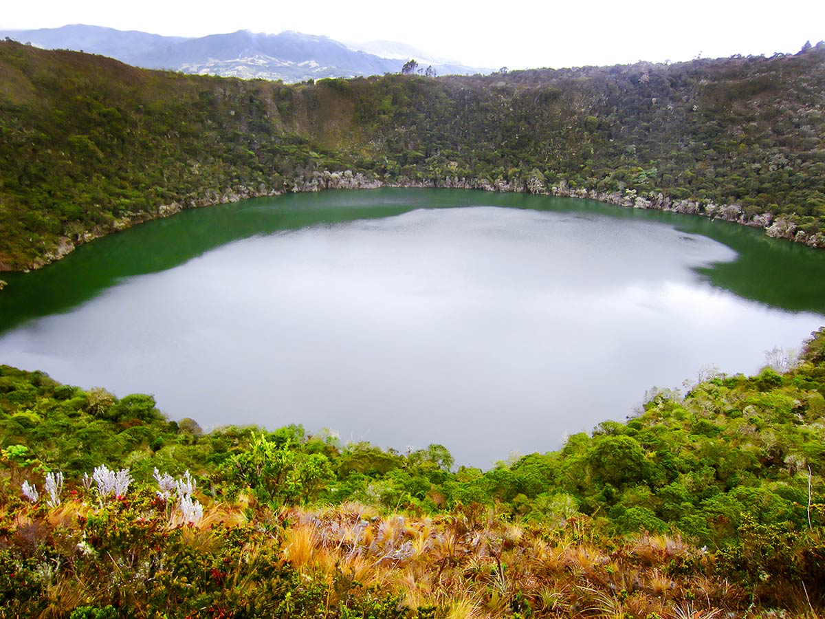 Beautiful lake seen on Walking in Colombia Tour