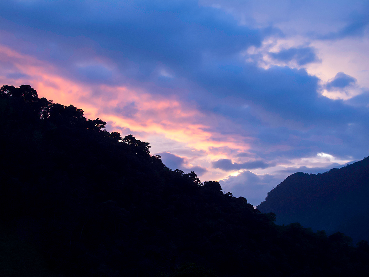 Sunset over Colombian Andes on Walking in Colombia Tour