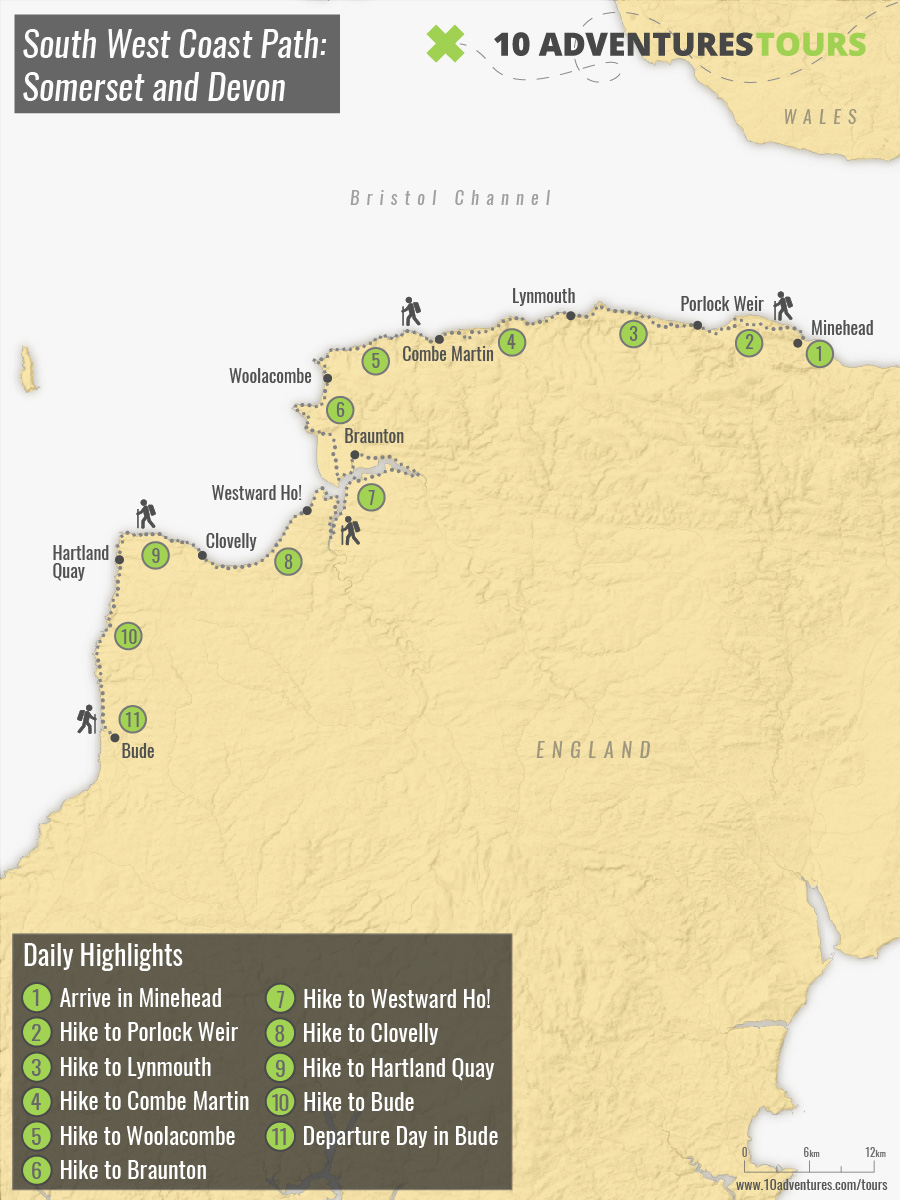 Map of South West Coast Path: Somerset and Devon self-guided walking tour