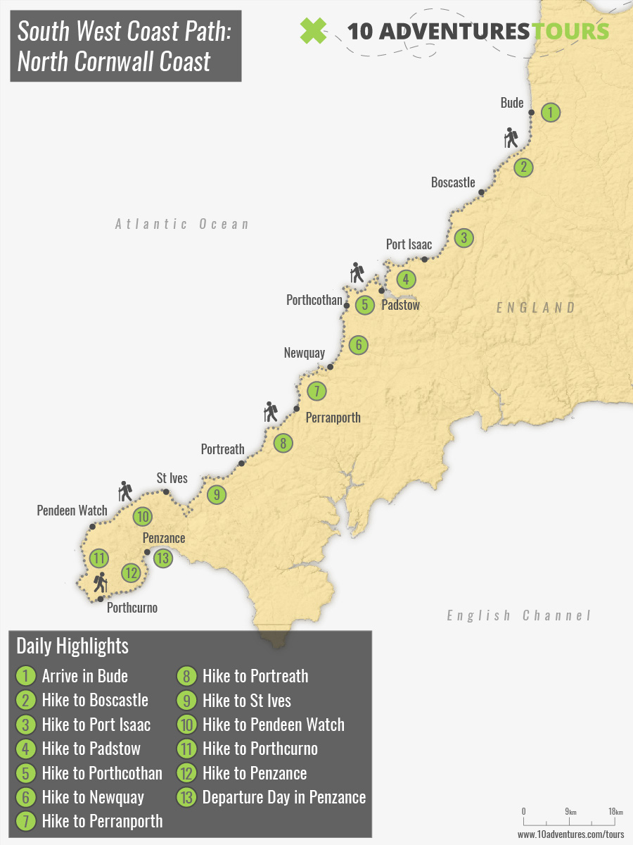 Map of South West Coast Path: North Cornwall Coast walking tour