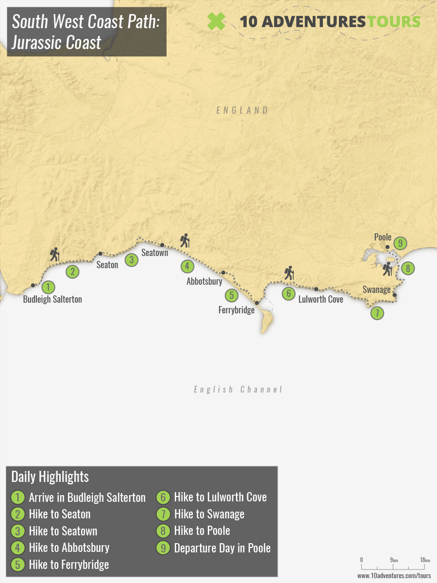Map of South West Coast Path: Jurassic Coast walking tour in England