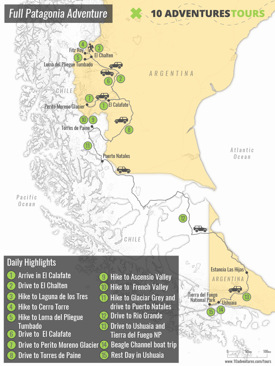 Map of 15-day Patagonia Guided Trekking Tour in Argentina