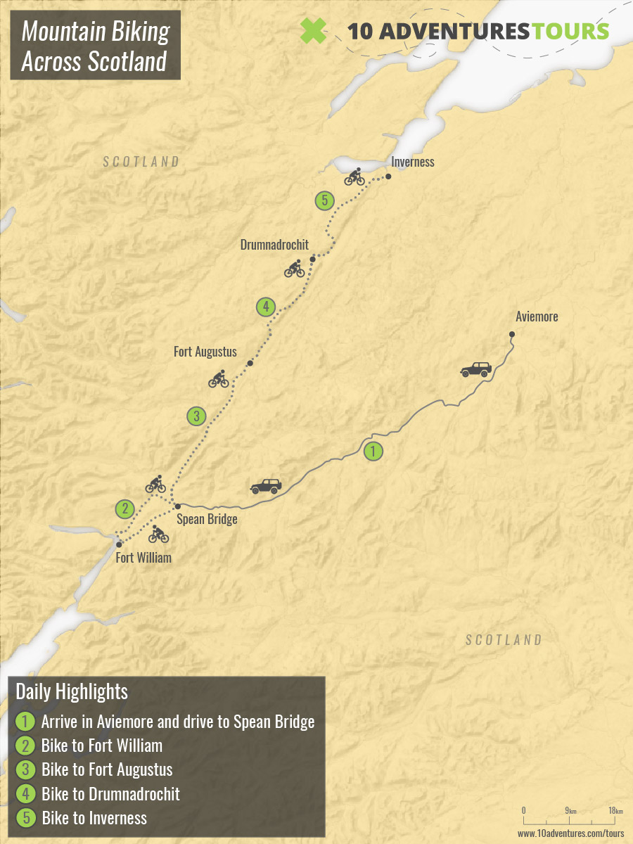 Map of Mountain Biking Across Scotland Tour with a guided group