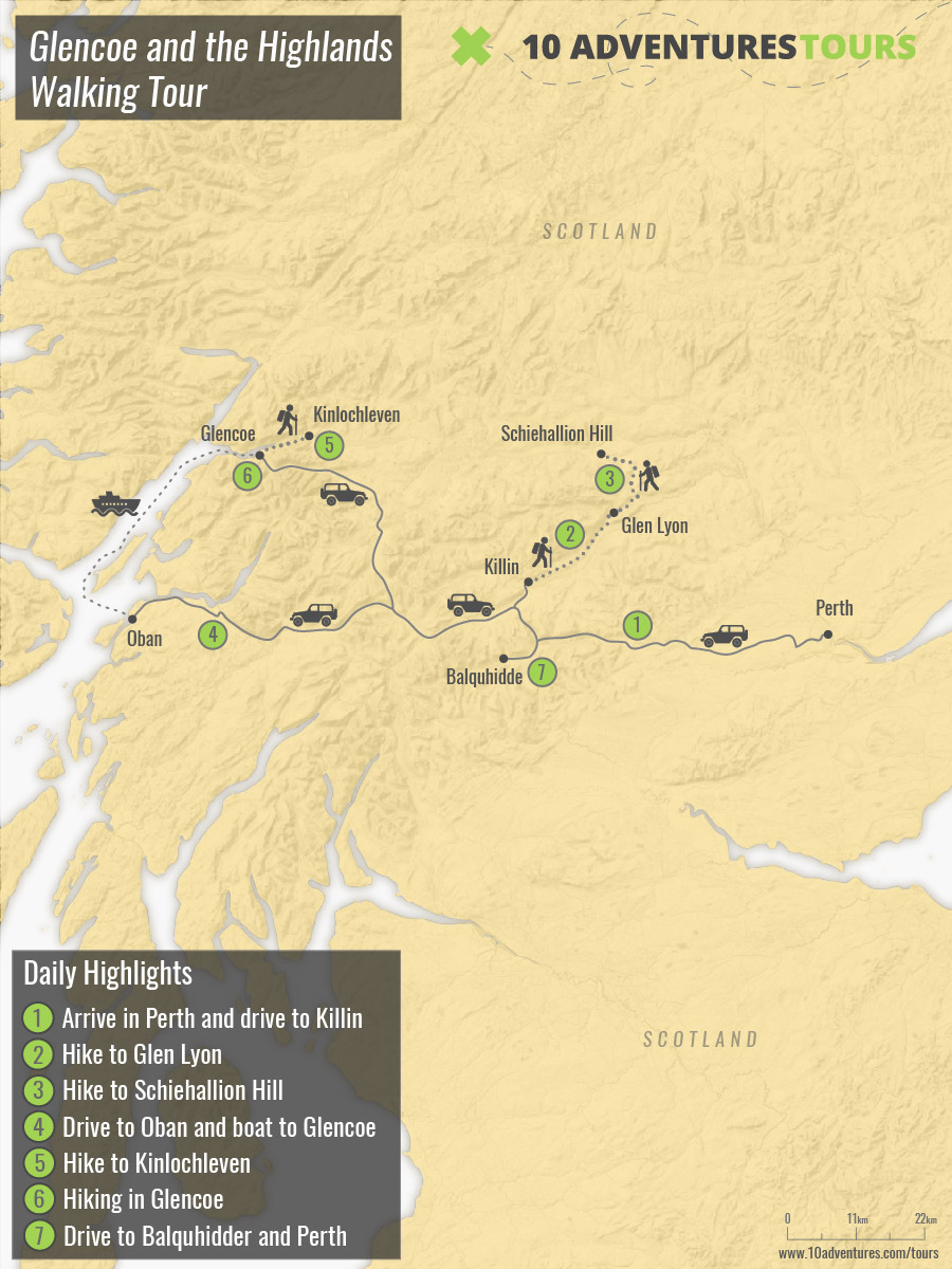 Map of Glencoe and the Highlands Walking Tour in Scotland with a guided group