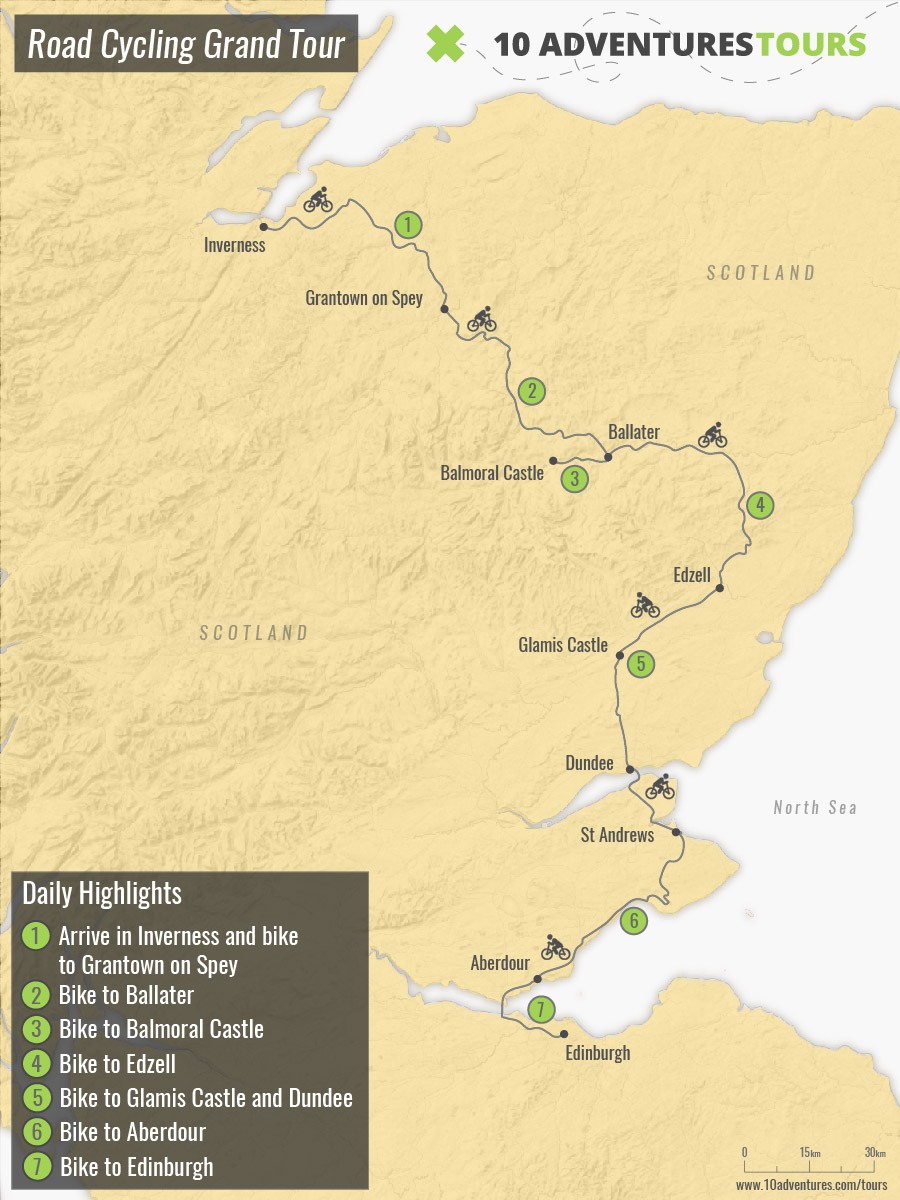Map of Road Cycling Grand Tour in Scotland with a guided group