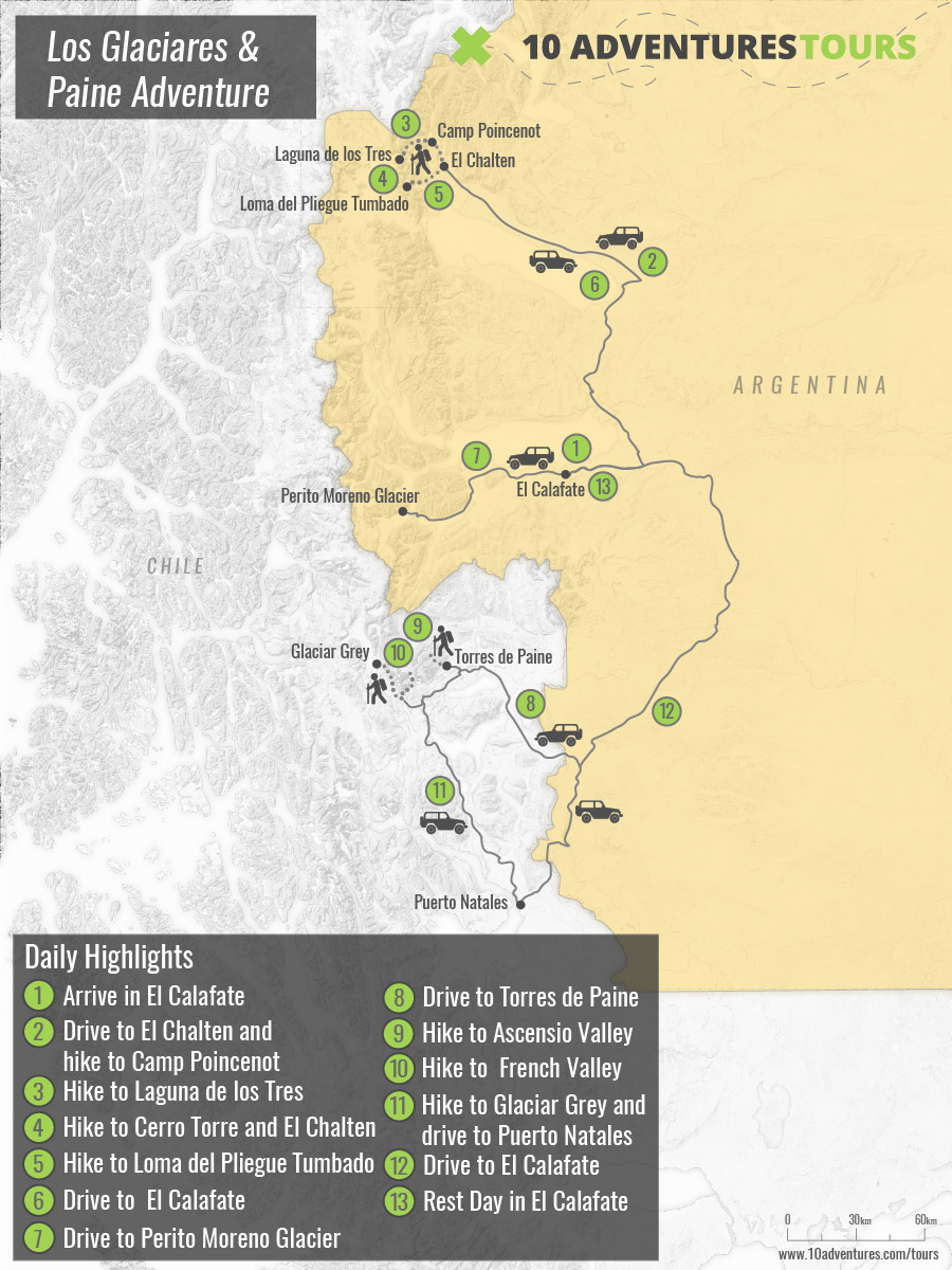 Map of Los Claciares and Torres del Paine Guided Trekking Tour in Chile