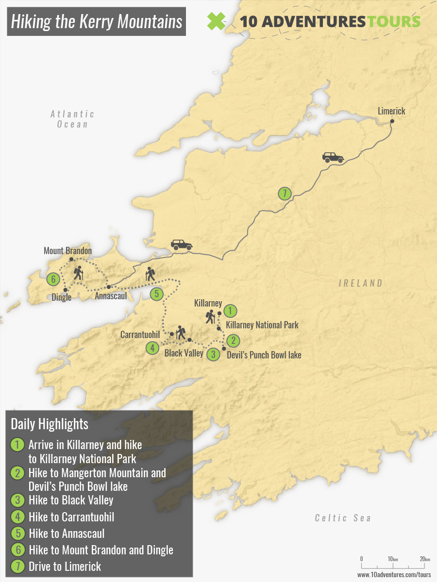 Map of Hiking the Kerry Mountains guided group tour in Ireland