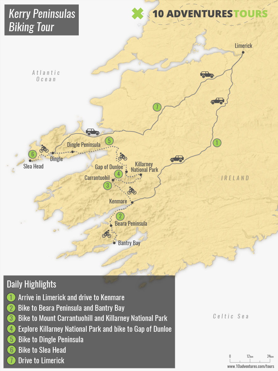 Map of Kerry Peninsulas Biking Tour in Ireland with a guided group
