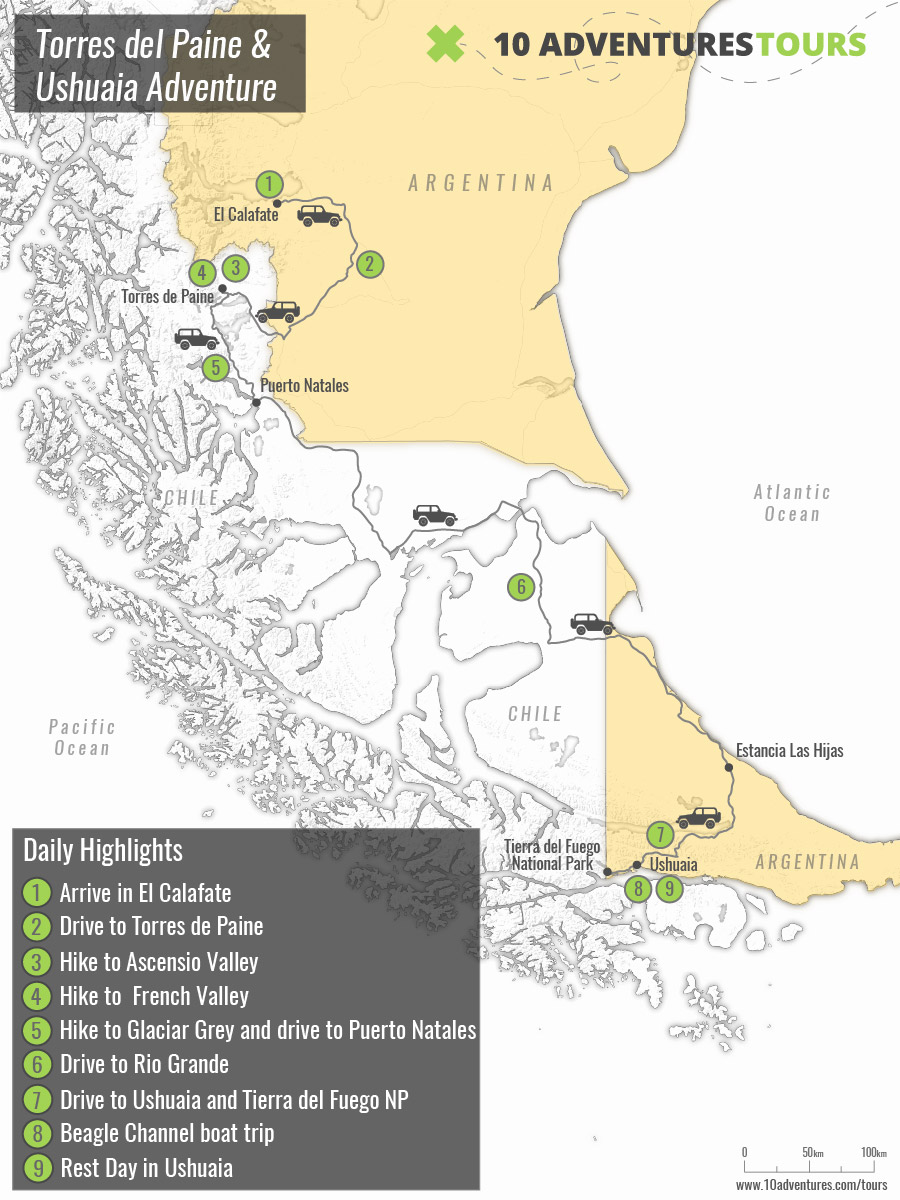 Map of guided Torres del Paine and Ushuaia Trekking Tour in Chile and Argentina
