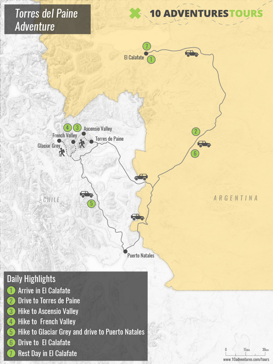 Map of guided Torres del Paine trekking tour in Chile and Argentina