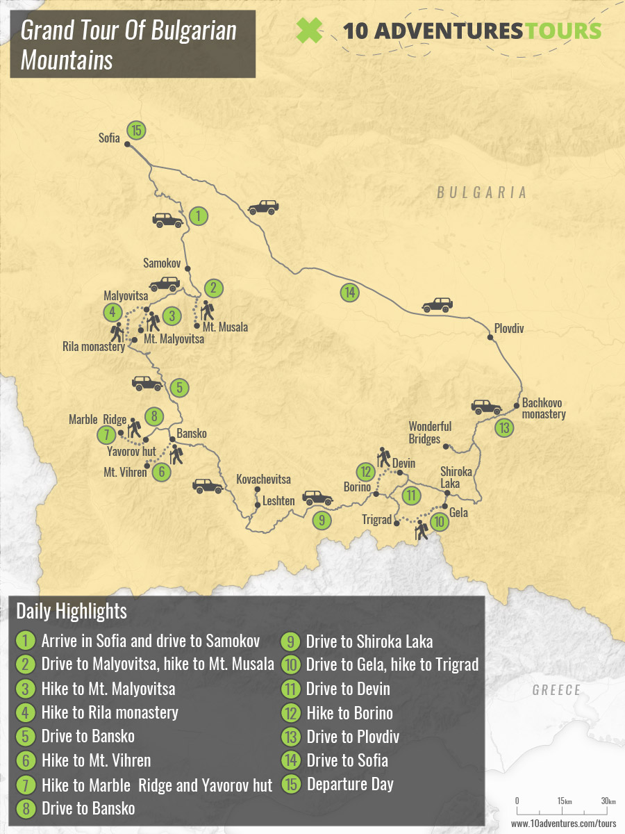 Map of The Summits and Ridges of Bulgaria trekking tour